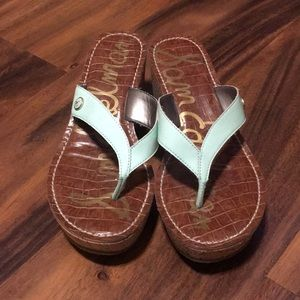 Sam Edelman Mint Green Romy Wedge Sandals